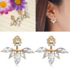 Baru Pair LADY/Wanita Modis Perhiasan Emas Gemstone Rhinestone Earrings Stud-Intl