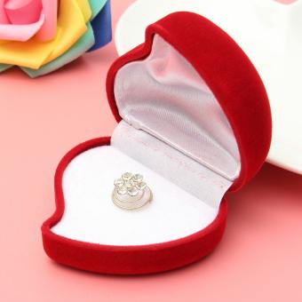 Beludru merah mawar berbentuk hati kotak cincin hadiah toko eceran perlengkapan Display perhiasan .