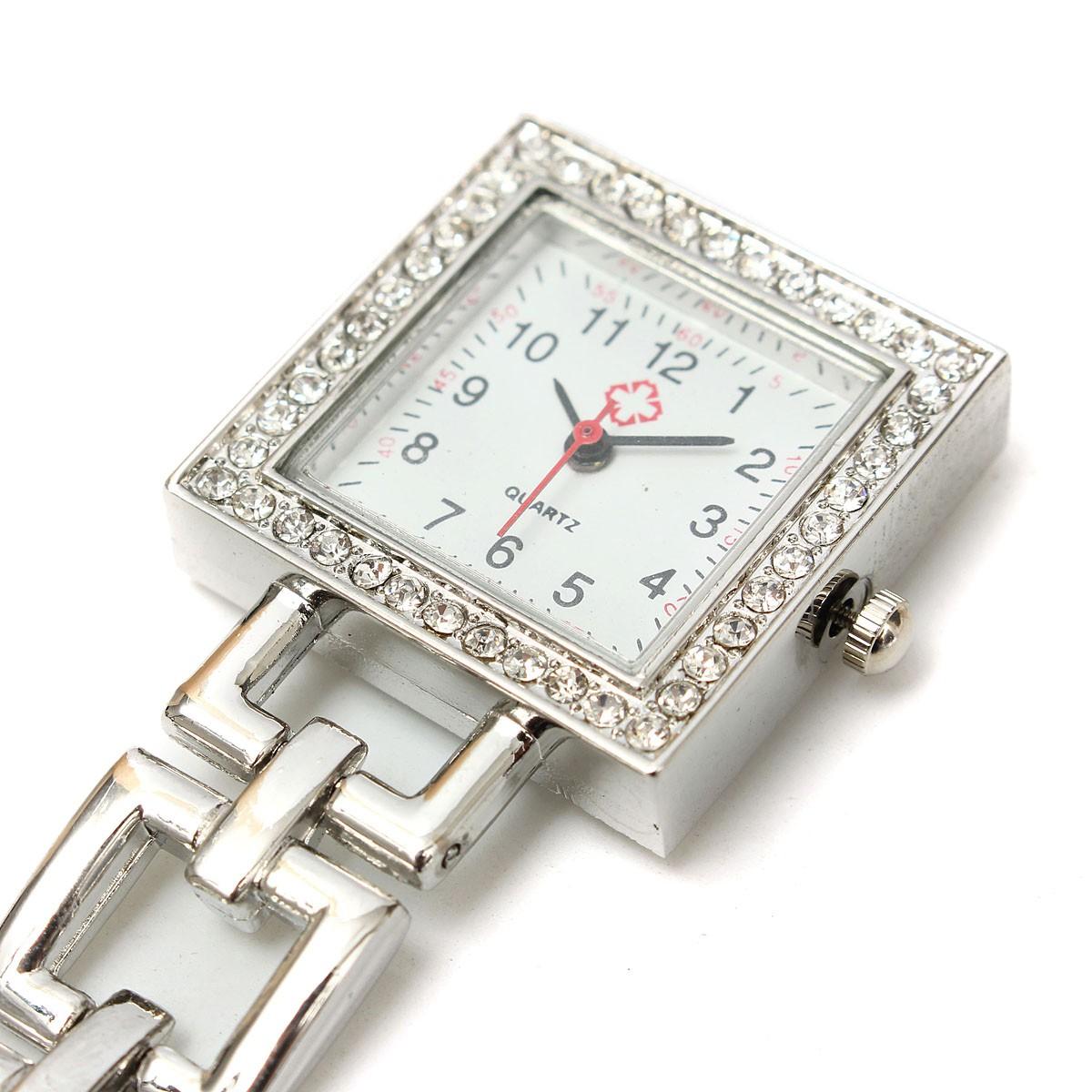 Berlian Buatan Square Dial Stainless Steel Perhiasan Bros Baju Dagu Liontin Swa Rivoly Bajuseragam Perawat Memperdaya Kuarsa