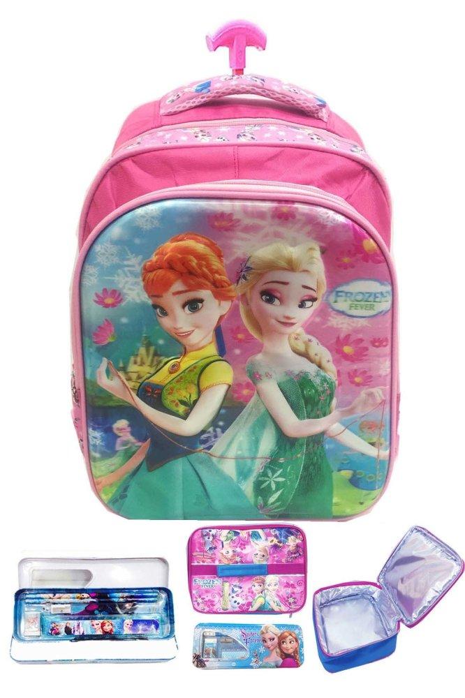 ... BGC 5 Dimensi Gambar Rubah Rubah Disney Frozen Fever 2 Kantung Timbul IMPORT Tas Troley Anak