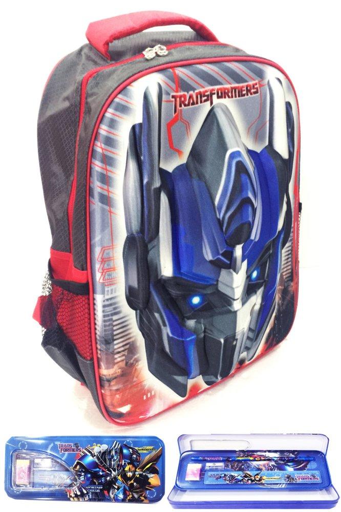 Menambah semangat anak belajar BGC Transformer Optimus Prime 3D Timbul Hard  Cover Tas Sekolah Anak SD + Kotak Pensil + 132f9d599f