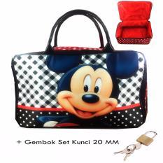 BGC Travel Bag Kanvas Mickey Mouse Kotak Kotak Gembok Set Kunci 20mm Black .