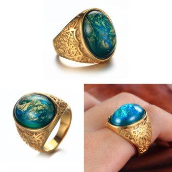 Big Green Stone Vintage Wedding Ring for Men/Women Yellow GoldPlated Jewelry - intl