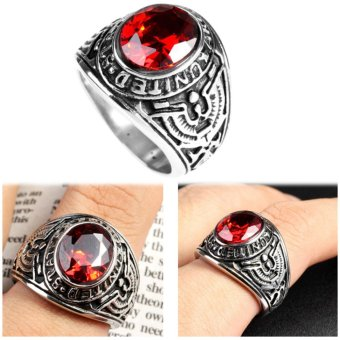 Big Natural Red Stone Ring, Vintage Men Ruby Rings Wedding Jewelry- intl