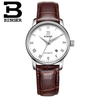Gambar BINGER berongga kalender tahan air menonton stainless steel jam tangan
