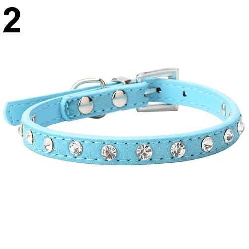 Bluelans(R) Adjustable Cat Pet Dog Studded Rhinestones Buckle Collar Faux Leather Neck Strap XS (Blue) - intl