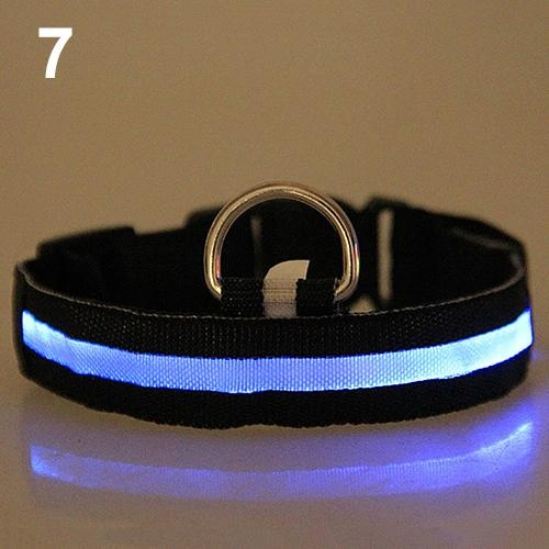 Bluelans(R) Adjustable Nylon Night Safety LED Flashing Glow Neck Strap Puppy Pet Dog Collar M (Multicolor) - intl