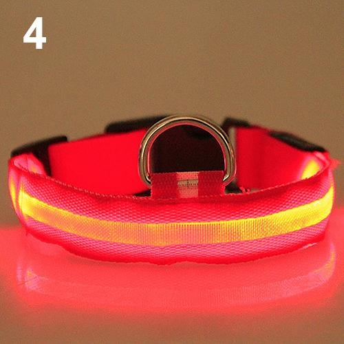Bluelans(R) Adjustable Nylon Night Safety LED Flashing Glow Neck Strap Puppy Pet Dog Collar S (Red) - intl