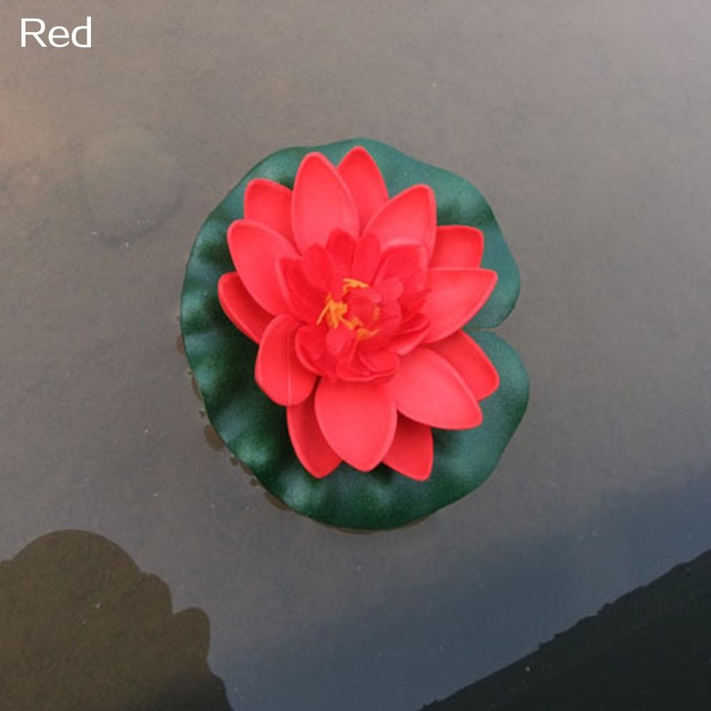 Bluelans(R) Artificial Water Lily Floating Flower Lotus Home Yard Pond Fish Tank Decor (Red) - intl