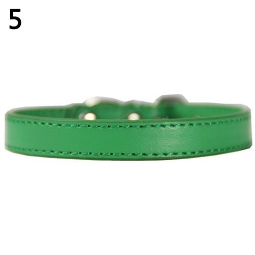 Bluelans(R) Fashion Adjustable Faux Leather Solid Color Dog Cat Puppy Neck Strap Pet Collar M (Green) - intl