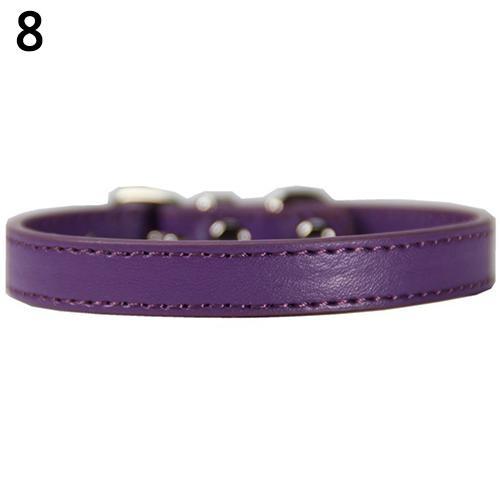 Bluelans(R) Fashion Adjustable Faux Leather Solid Color Dog Cat Puppy Neck Strap Pet Collar M (Purple) - intl