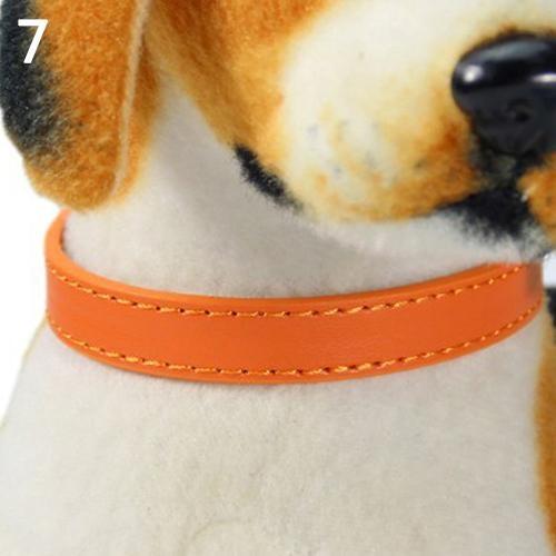 Bluelans(R) Fashion Adjustable Faux Leather Solid Color Dog Cat Puppy Neck Strap Pet Collar S (Orange) - intl