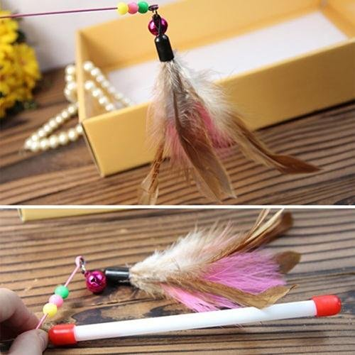 Bluelans(R) Multicolor Wire Chaser Wand Teaser Feather Bell Beads Play Fun Pet Cat Toy - intl