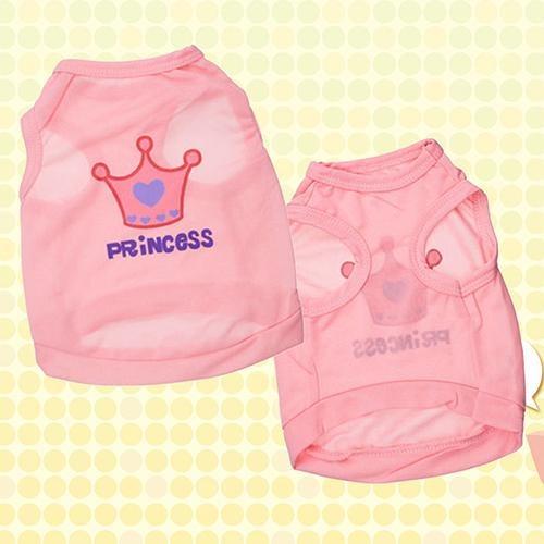Bluelans(R) Pet Dog Cat Princess Letter Crown T-shirt Vest Summer Coat Puppy Costumes S - intl