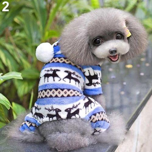 Bluelans(R) Pet Dog Puppy Cute Elk Warm Winter Soft Sweater Hoodie Jumpsuit Coat Clothes Outwear M (Blue) - intl