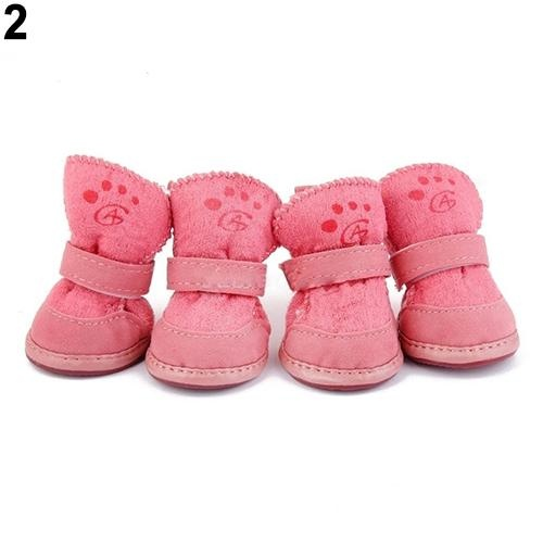 Bluelans(R) Pet Dog Winter Anti-Skid Comfy Walking Warm Cozy Berber Fleece Shoes Snow Boots 4.5cmx3.6cm (Pink) - intl