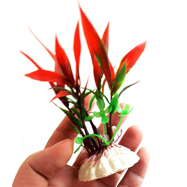 Bluelans(R) Plastic Plant Grass for Aquarium Fish Tank Landscape Decoration Red - intl
