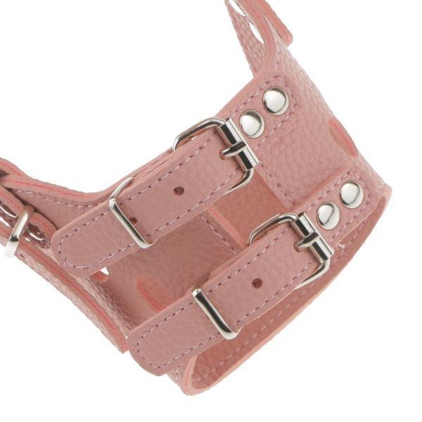 BolehDeals Safe Adjustable Soft Leather Dog Puppy Muzzle BasketCage Anti-bark S Pink - intl