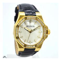 Bonia BNB10290-1212S Jam Tangan Wanita-Kulit (Hitam Gold)