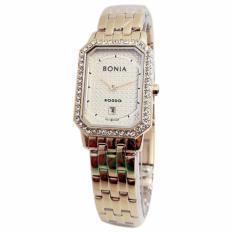 Bonia Rosso Crystal Swarovsky D20H1045BN2222LCSLVP Date Jam Tangan Wanita Stainless Steel Chain