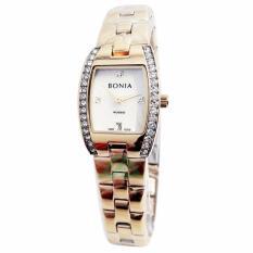 Bonia Rosso Crystal Swarovsky D20H990BN2227LGP Date Jam Tangan Wanita Stainless Steel Chain