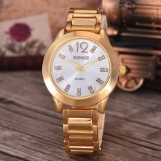 Bonico  Jam Tangan Wanita - Body Gold - White Dial - Gold Band - BNC-8281A-GW-GOLD BAND