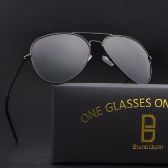 bruno dunn women men polarized aviator 3025 sunglasses (black frame grey lense) - intl