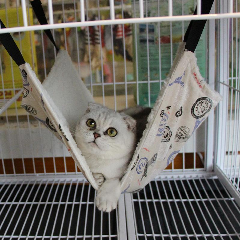 BUYINCOINS Pet Yang Bergaya Kucing Macan Tutul Bulu Tambahan TempatTidur Gantung Menggantung Sangkar Penghibur Menguber BinatangAnjing