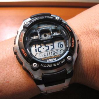Casio Illuminator World Time D46H482AE2000WDSLVDigital Jam Tangan Pria Stainless Steel Chain 3 .