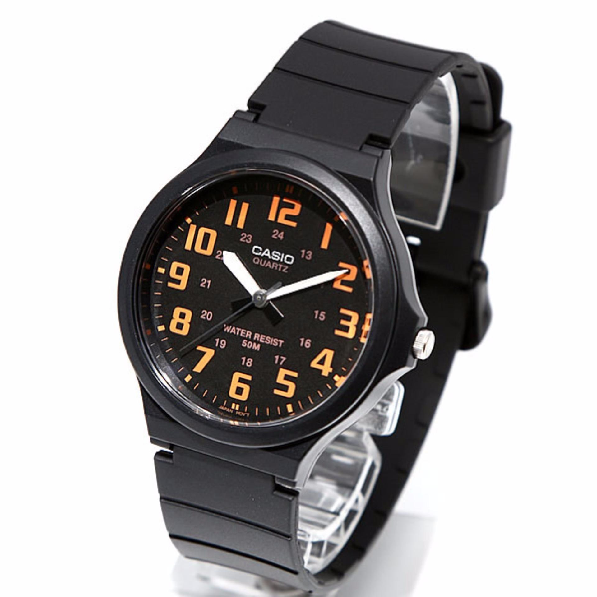 Casio Mw 240 4bvdf Jam Tangan Pria Hitam Orange Karet Spec Dan Analog And Digital Watch Aq S810w 3av Strap Rubber Hijau