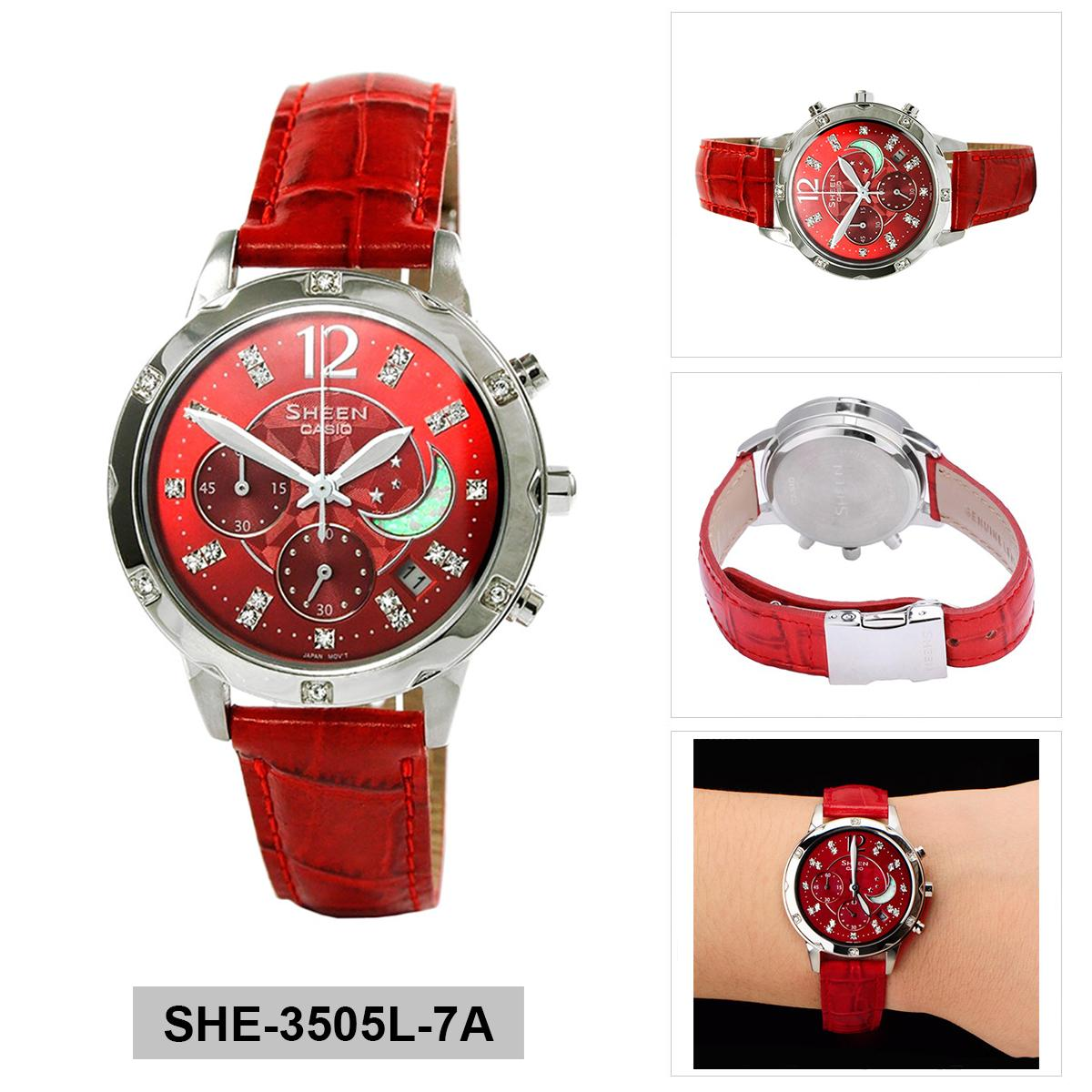 Casio Watch Sheen Chronograph Red Stainless-Steel Case Leather Strap Ladies NWT + Warranty SHE ...