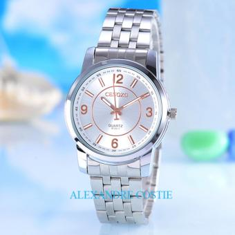 Cenozo - JamTangan Pria - Body Silver - White/Rose-Dial - StainlessStell Band - CNZ-RT-8126B-G- SW/Rose-Stainless Stell Band