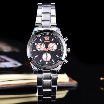 Cenozo - JamTangan Wanita - Body Silver - Black/Rose Dial - Stainless Stell Band - CNZ-RT-8104A-L- SB-Black dial StainlessStell Band