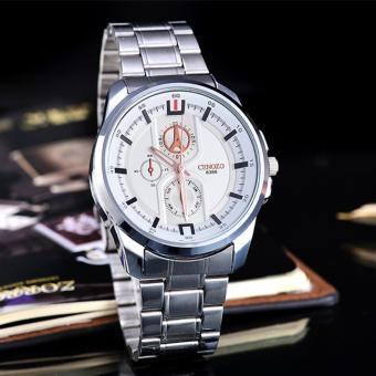 Cenozo - JamTangan Wanita - Body Silver - White-Rose - StainlessStell Band - CNZ-RT-8388A-L-SW-Rose-Stainless Steel Band