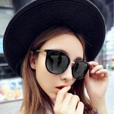 Cewek Kacamata Hitam Wanita UV400 Vintage Retro Bingkai Logam Perlindungan Hitam Bingkai