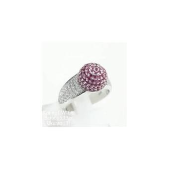 Cincin Bulat Kristal Batu Merah Pink Ruby CW168 Silver Perak 925