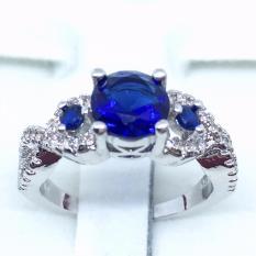 Cincin Silver Lapis Emas Putih Batu Biru Berlian Imitasi Mewah