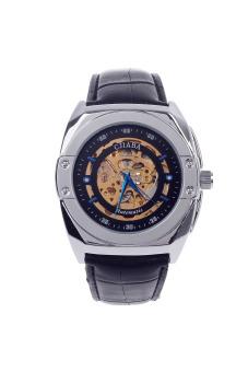 CJIABA GK8017 Double-Sided Skeleton Automatic Mechanical Men'sWrist Watch(Black/Golden/Blue)