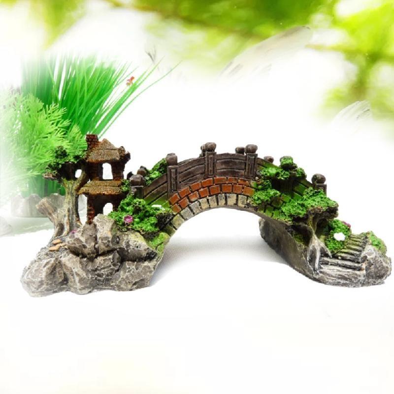 Cocotina Aquarium Ornament House Mountain View Pavilion Tree Cave Bridg Fish Tank - intl