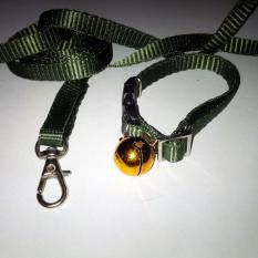 Collar/Kalung uk S + Leash Hijau TNI untuk Kucing, Kelinci, Musang, Puppy Small breed