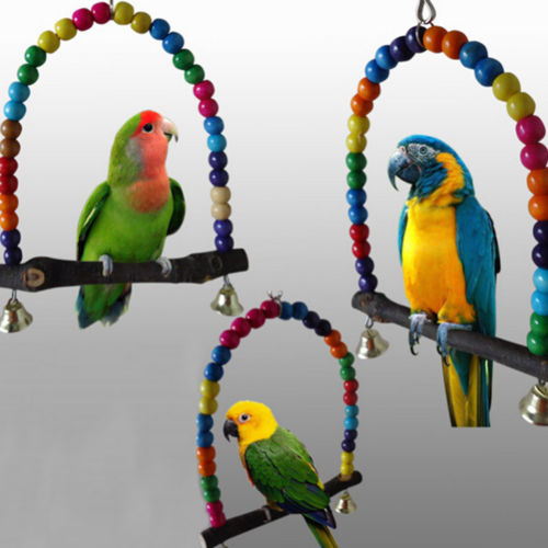 Colorful Swing Bird Toy Parrot Cage Toys Lovebird Budgie Conure Perches