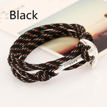 Couple Fashion HOPE Anchor Bracelet Fashion Bracelet with Anchor Hook for Men Women - intl