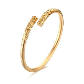 Cuff Bracelets for Women and Men Jewelry Gold/Black-color Monkey King Bar Style Bracelets & Bangles, Gold Color - intl