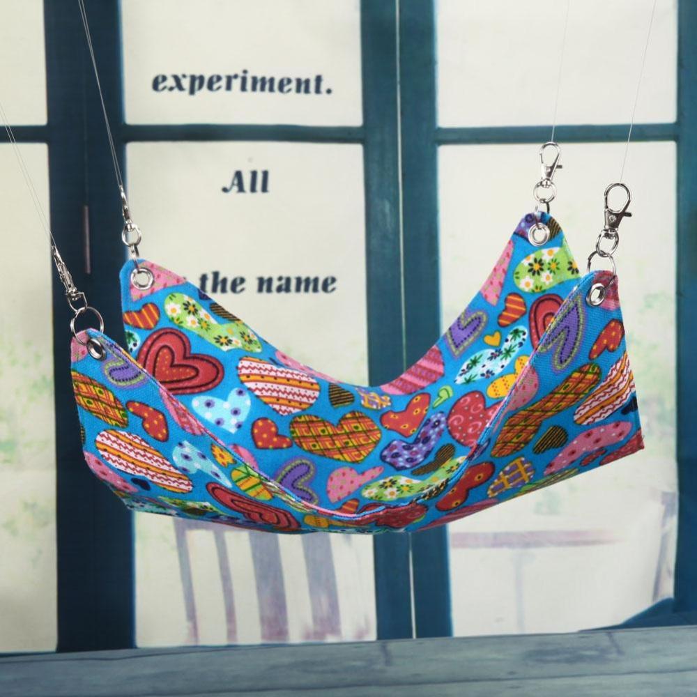 Cute Love Heart Shape Pet Canvas Hanging Blanket Mat Hamster Hammock Cage(Multicolor) - intl