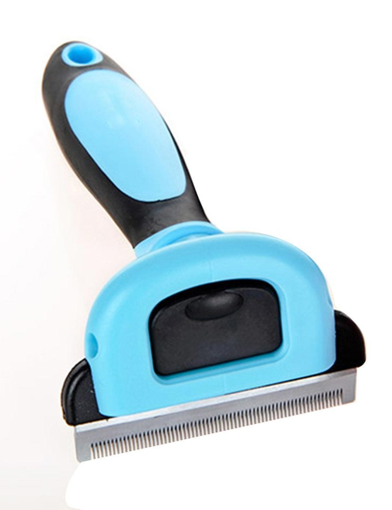 Cyber Pet Grooming Brush Comb Deshedding Tool For Dogs And Cats Stainless Hair Removal ( Blue ) - intl