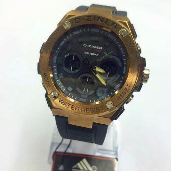 D-ziner Dual Time - DZ 8132 - Jam Tangan Sport Pria - Rubber Strap - Black Full Gold