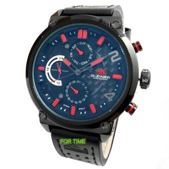 D-ZINER DZ9007M Jam Tangan Pria Chrono Strap kulit hitam merah