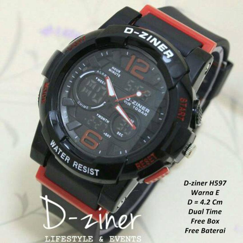 D ziner RO D 66TR54 Dual Time Jam Tangan Wanita Rubber Strap hitam .