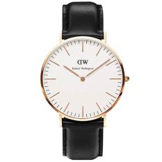 Daniel Wellington 0508DW Jam Tangan Pria Wanita Classic Sheffield 36MM Men Women Genuine Leather Watch - Black White