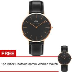 Daniel Wellington DW00100127 Jam Tangan Pria Classic Black Sheffield Horloge Men Leather Watch - Black Gold + Gratis 1pc Daniel Wellington DW00100139 Women Watch